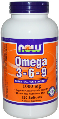 NOW. Omega-3-6-9 1000 мг, 250 капс.